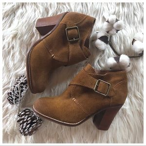Lucky Brand Chestnut Suede Booties- Size 7